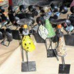 Suporte p/velas arte Africana em férro e missangas