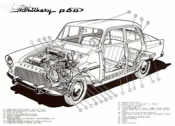 Simca Aronde Elysée P60, p/ restauro 1958a1964