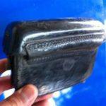 Bolça para telemóvel / porta munições vintage preto e dourado